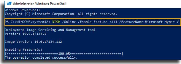 Install Docker for Windows dism