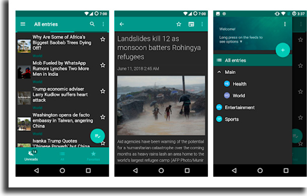 Flym apps to read news