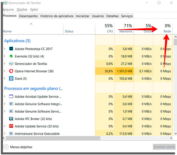 organize processes by network consumption in task manager