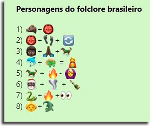 Challenge of the characters of the Brazilian folklore best games of challenges for WhatsApp