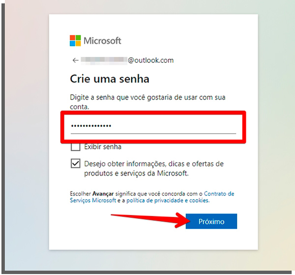 invent a password to create email in outlook