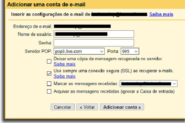 create general email pop server