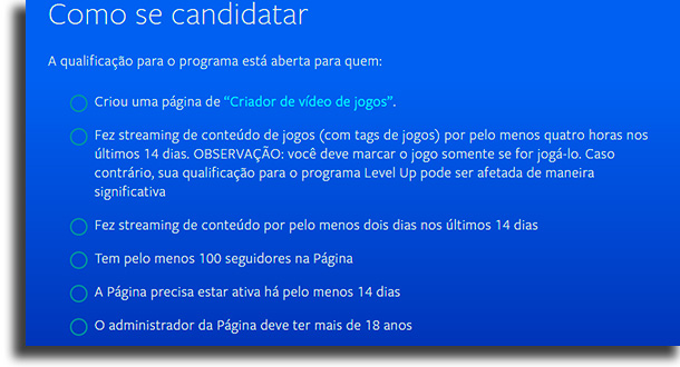 Facebook Gaming or Nimo criteria