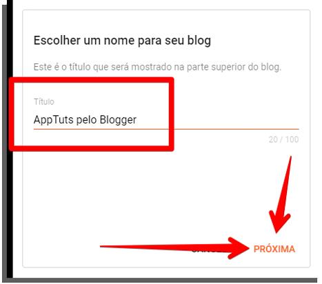 create the blog name