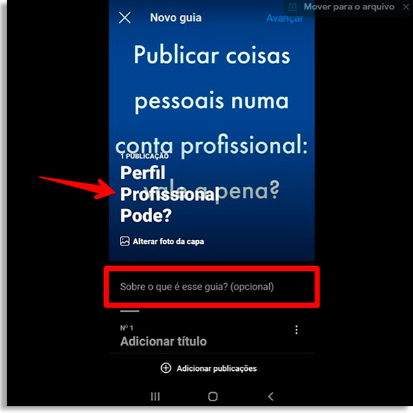 screen with blue background post and saying to publish personal things in a professional account: it's worth it. Red arrow pointing to a superimposed title that says