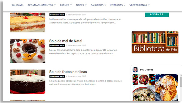 screen from the edu guedes website, showing some of the best christmas recipes