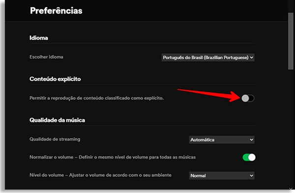spotify preferences screen, with red arrow pointing where the button is to disable explicit content and do parental control on spotify