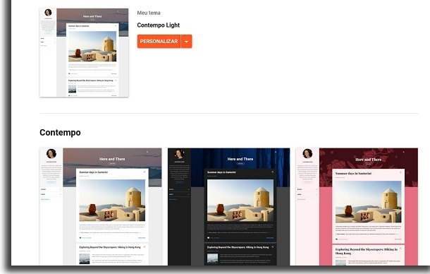 blogger themes screen to choose from when creating your own website