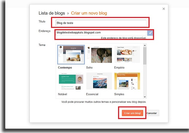popup for creating blogs on the blogger with three red border boxes. The first highlights the title field, the second the website address field and the third the button