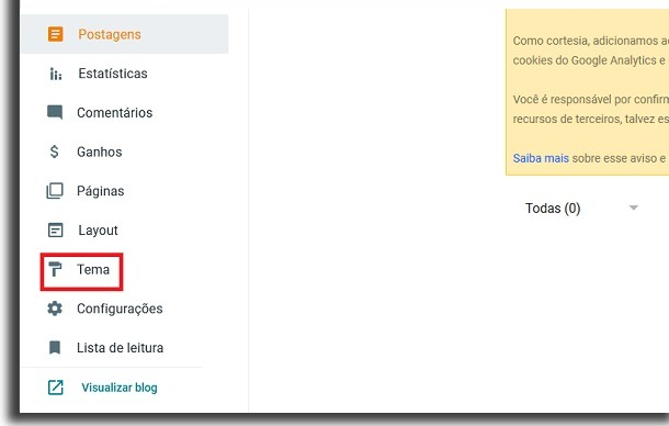 blogger side menu with red border box highlighting the option