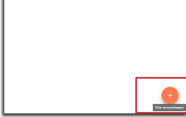 blank blogger screen with red border box highlighting button shaped like