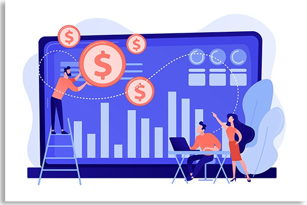 illustration with small people facing a computer, catching money symbols and graphs on the screen on blue background