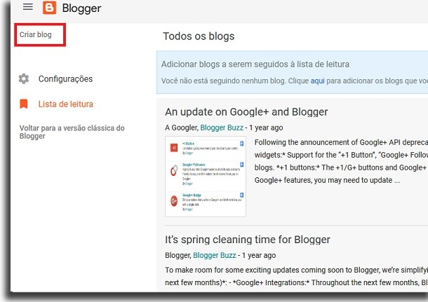 blogger home screen with red box highlighting the button
