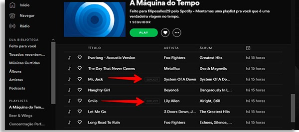 spotify playlist screen in night mode, with red arrows pointing to a button written explicit