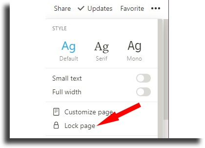 Lock pages Notion tips and tricks