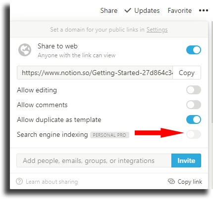 Allow indexing in search services Notion tips and tricks