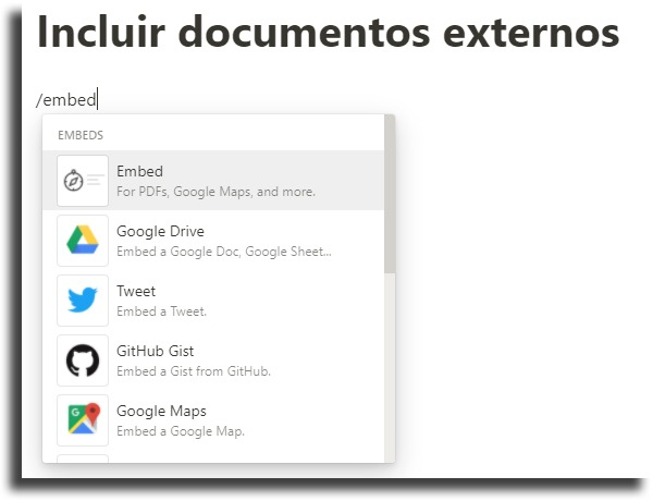 Include external documents Notion tips and tricks