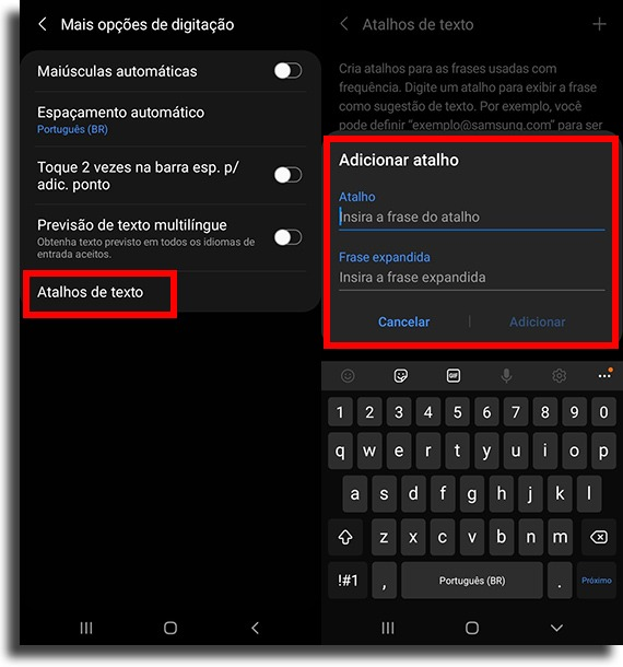 adding shortcut on samsung keyboard create text shortcuts on android